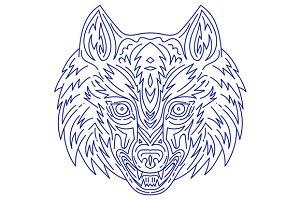 Grey Wolf Head Mono Line