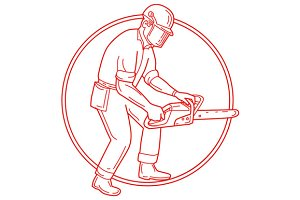 Lumberjack Arborist Chainsaw Circle