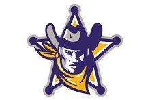 Sheriff Cowboy Star Badge Retro