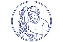 Surveyor Theodolite Circle Mono Line
