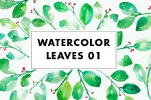 Watercolor Leaves Clip Art