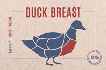 Label for meat with text Duck Breast