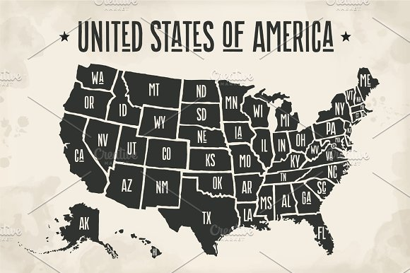 Poster Map United States Of America With State Names Textures - Map of the us poster size