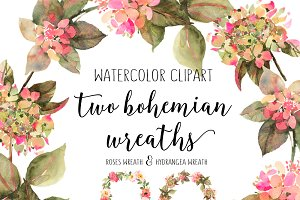 Hydrangea and rose watercolor wreath