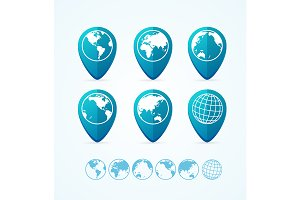 Globe Icon Set Tags