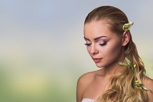 Beauty face of a young blond woman