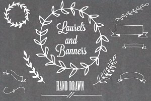 Hand Drawn Laurels and Banners