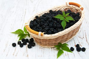 Basket with Blackberries