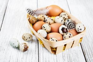 Basket with fresh  eggs