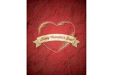Crumpled vintage Valentines Day card