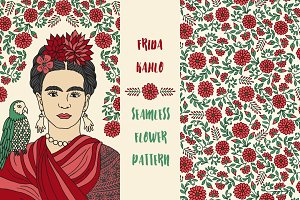 Portrait of Frida Kahlo & Pattern