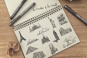 The Wonders of the World - Hand draw