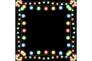 Glowing Christmas garlands vector frame black