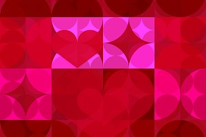 Red Hearts Modern Circle Pattern
