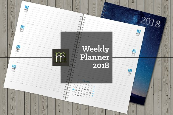 Weekly Planner 2018 (WP008-18) in Stationery Templates