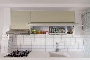 Modern white kitchen .