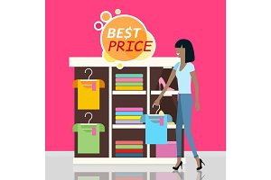 Sale in Clothing Store Flat Design Vector Concept