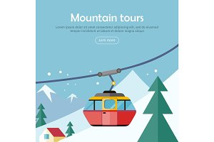 Mountain Tours Concept Banner. Funicular Railway,