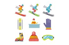 Set of Vector Winter Sport Icons in Flat Design
