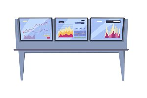 Stock Exchange Index Monitoring Concept Vector