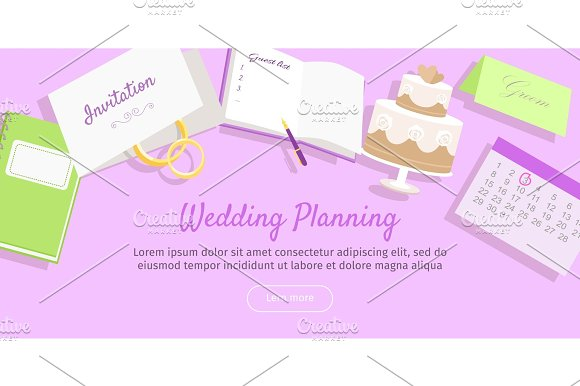 Wedding Planning Web Banner. Preparations. Vector