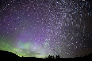 Aurora Borealis star trails