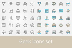 Geek icons set
