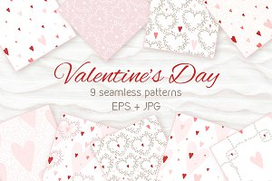 9 seamless Valentine's Day patterns