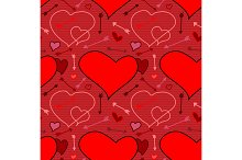 Valentine seamless pattern with hearts and arrows