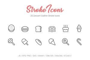 25 Dessert Outline Stroke Icons