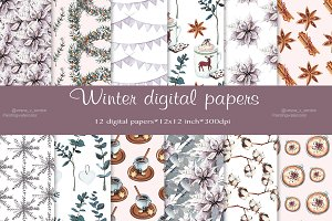 Winter digital paper, pattern