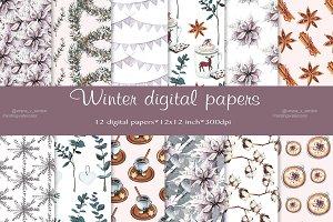 Winter digital paper, pattern