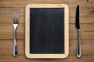 Blackboard for menu, fork and knife