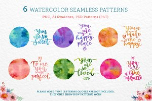 6 Watercolor Seamless Patterns