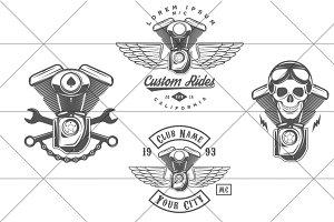 Vintage biker logos (Set #4)