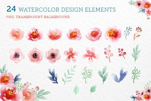 24 Watercolor Floral Elements