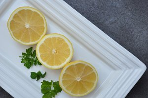 Lemon slices on tray