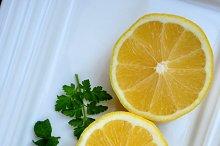 Lemon slices on tray
