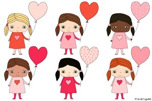 Cute girls with balloons clipart set