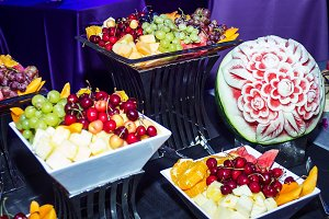 Colorful Tropical Fruit Buffet .