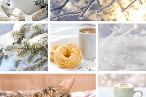 Winter collage with landscapes, coffee and sleeping cat