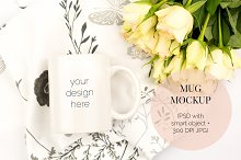 White Mug PSD Mockup with Roses