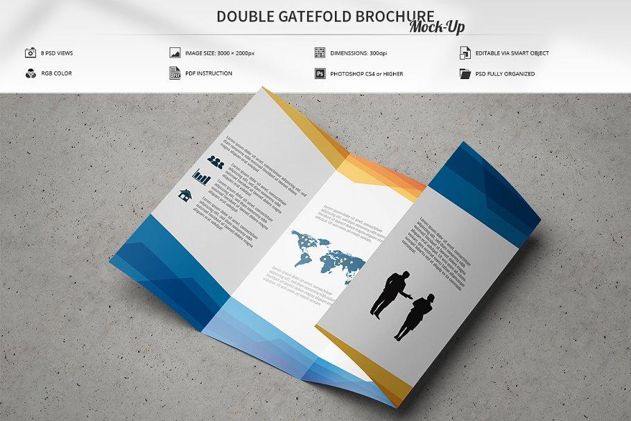 Double Gatefold Brochure Mock-Up ~ Print Mockups ~ Creative