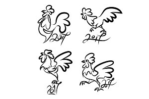 Set cute hand drawn characters of rooster