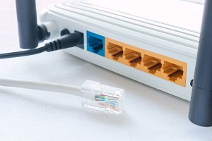 internet cable and router