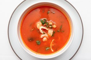 Tomato soup with fish and shellfish