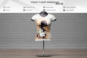 Female T-Shirt Mannequin Mock-Up