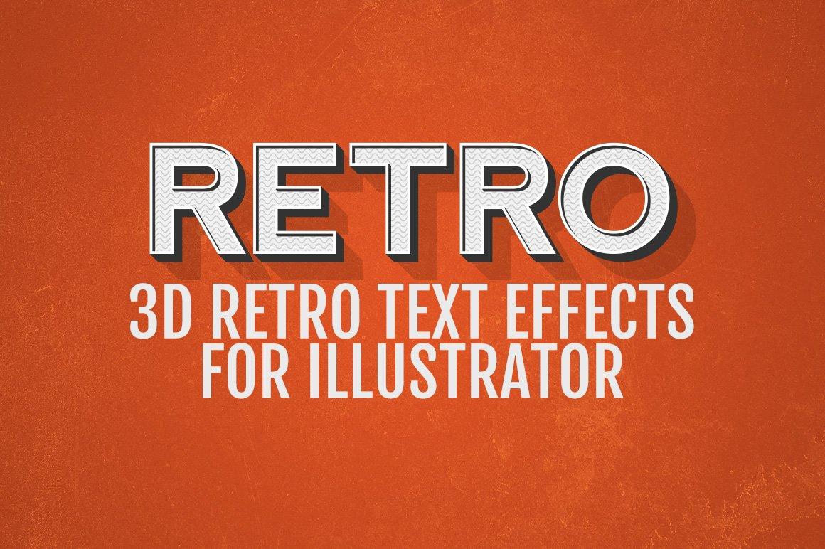 3d retro text effects illustrator layer styles creative market. Black Bedroom Furniture Sets. Home Design Ideas