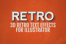 3D Retro Text Effects - Illustrator