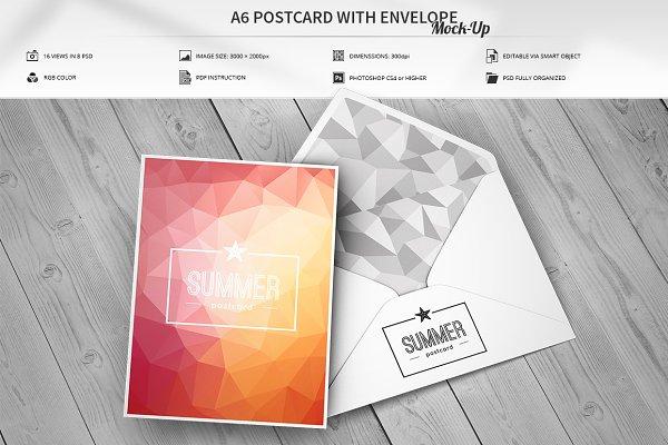 A6 Postcard with Envelope Mock-Up